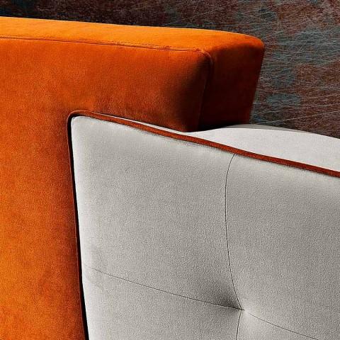 Cama doble de diseño moderno en terciopelo gris y naranja - Plorifon