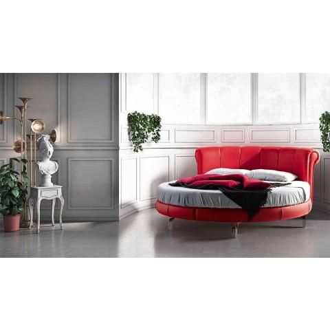 Cama doble redonda moderna de lujo en piel sintética Made in Italy - Dream