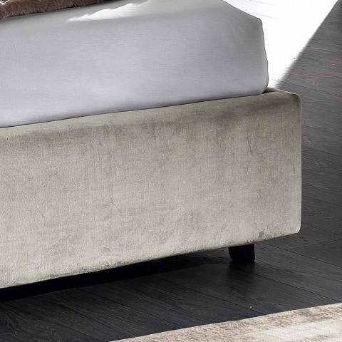Cama doble moderna tapizada acolchada o diseño liso - Aftamo