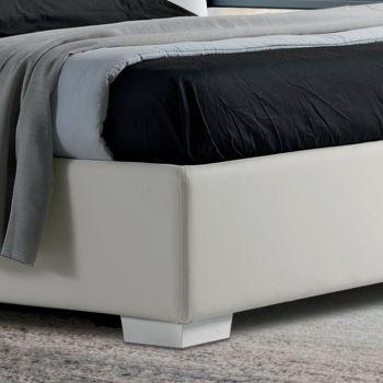 Cama doble moderna en piel ecológica con Contentiore - Ozzano
