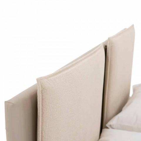 Cama doble moderna de cuero y tela Made in Italy - Zeldo