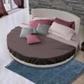 Cama doble redonda de diseño tapizada en tela, Made in Italy - Rello