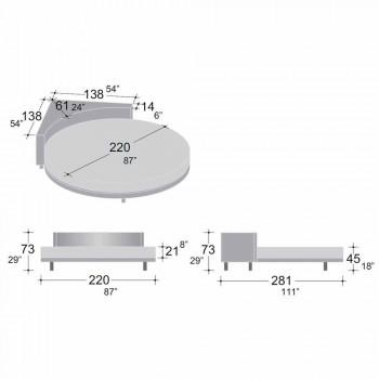 Cama doble redonda moderna con cabecera angular Made in Italy - Tima