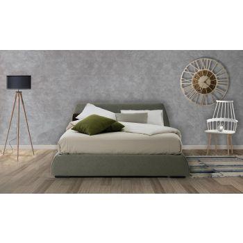 Cama doble moderna con caja en tela o piel sintética Made in Italy - Minerva