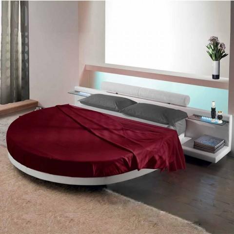 Cama doble redonda tapizada en ecopiel de diseño Made in Italy - Vesio
