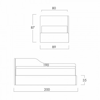 Cama individual con cabecera en forma y panel lateral, Line8 Bolzan