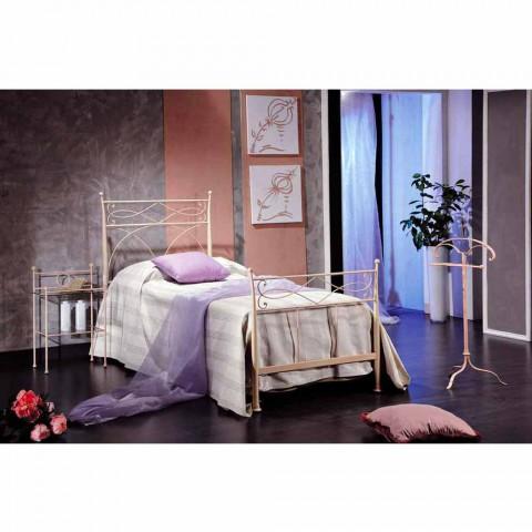 cama individual en forjado mano de hierro forjado Ambra, fabricado en Italia