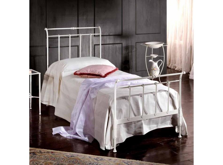 cama individual en hierro forjado completo Amanda hace a mano, fabricado en Italia