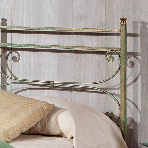 cama individual en hierro forjado martillado cuadrado Leila, fabricado en Italia