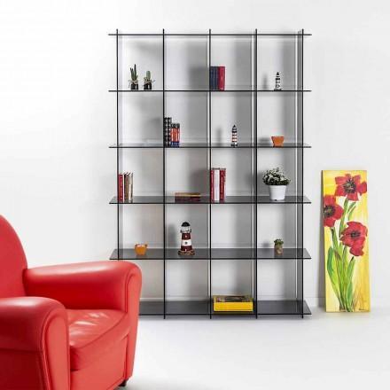 Biblioteca de pared de diseño moderno en plexiglás ahumado Sfera4