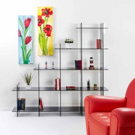 Librería de pared ahumada Sfera3 L180 x H180 x P30 cm, hecho en Italia