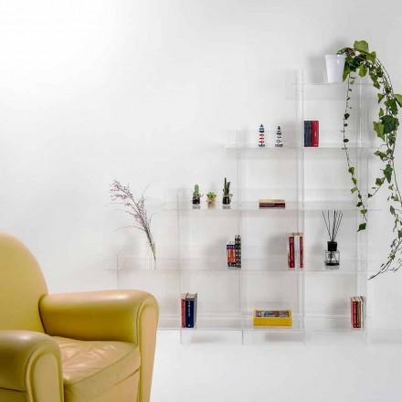 Librería de pared transparente Sfera3 L180 x H180 x P30 cm, fabricada en Italia