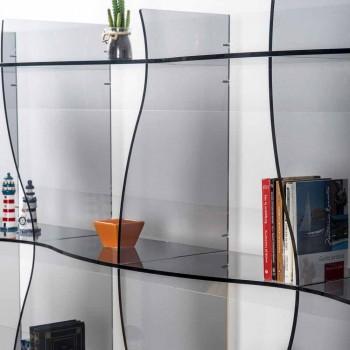 Biblioteca independiente / de pared de diseño moderno Pam fumé, made in Italy