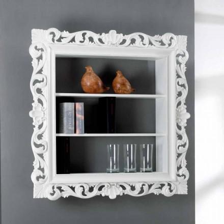 diseñador de la biblioteca pared de madera con 3 estantes Daran, fabricado en Italia