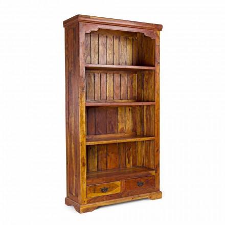 Librería de suelo de diseño clásico en madera maciza de acacia Homemotion - Umami