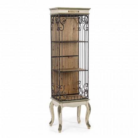 Librería de piso de diseño clásico en madera y acero Homemotion - Verena