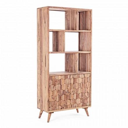 Estantería de suelo de diseño vintage en madera y acero Homemotion - Ventador
