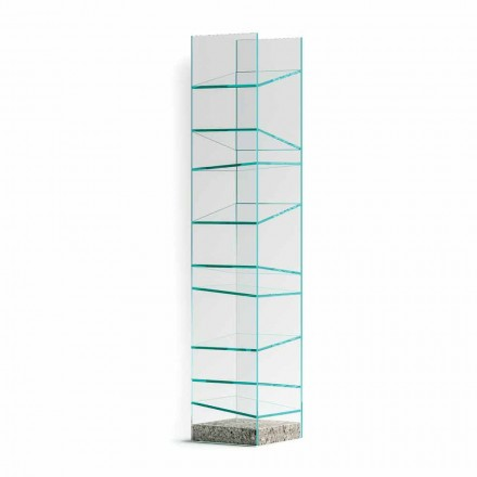 Estantería de suelo de diseño en vidrio con base de acero Made in Italy - Biba