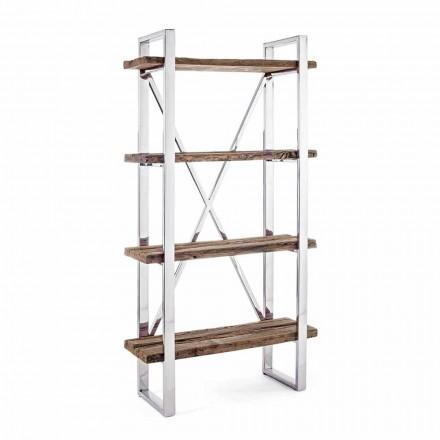 Librería moderna de suelo Homemotion en acero cromado y madera - Lisotta