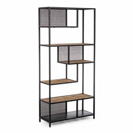 Librería de suelo Homemotion de acero pintado con estantes de madera - Borino