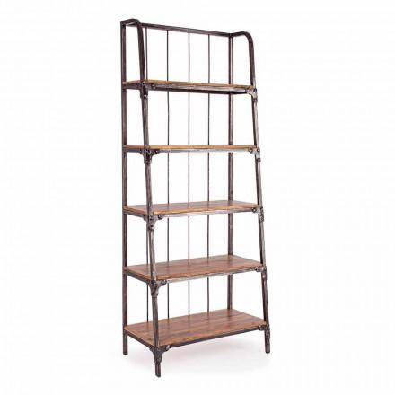 Librería de suelo Homemotion de acero pintado con estantes de madera - Molina