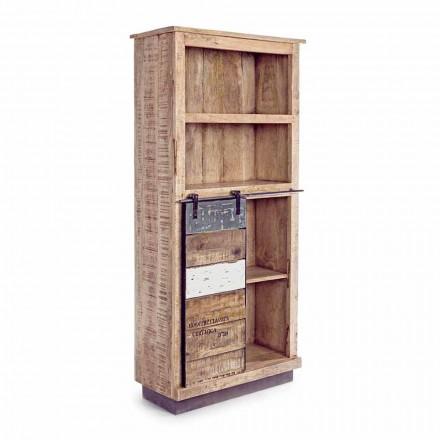 Librería de suelo Homemotion en madera de mango con inserciones de acero - Vidia