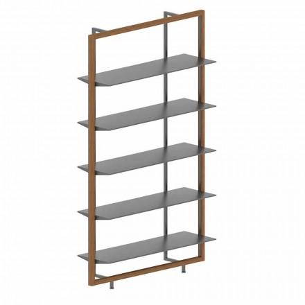 Librería de suelo en metal, aluminio y madera Made in Italy - Bonaldo Aliante