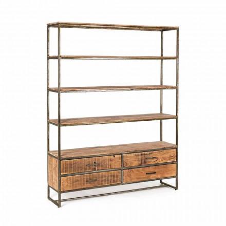 Estantería de suelo de estilo industrial en acero y madera Homemotion - Zompo