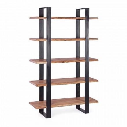 Estantería moderna con suelo de acero y estantes de madera Homemotion - Lanza