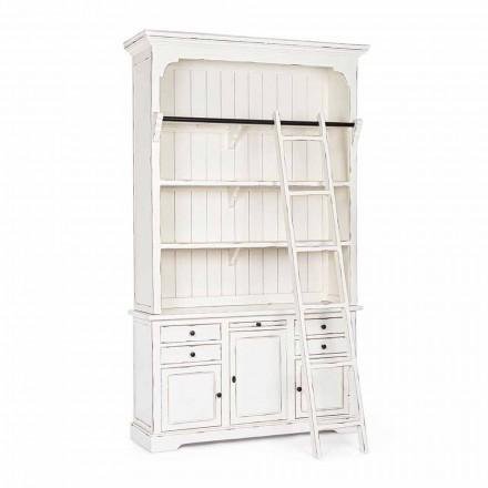 Librería de madera de diseño clásico con escalera decorativa Homemotion - Cedro