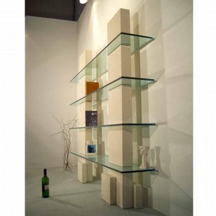 Estantería de cristal y piedra Vicenza hecha a mano Poplia