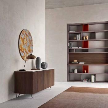Aparador para sala de estar con 2 puertas en madera ecológica y tablero de mármol metálico - Marrón
