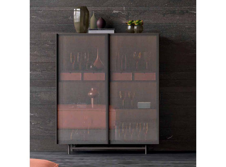 Aparador de 2 puertas en sala de estar o entrada de diseño ecológico en madera y metal - Aaron
