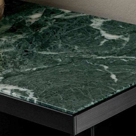 Aparador para sala de estar en vidrio ahumado y mármol verde de Guatemala - Leonarda