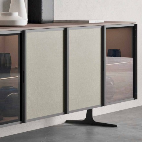 Aparador de salón en madera ecológica y vidrio 4 puertas Made in Italy - Aaron
