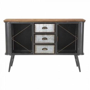 Aparador de sala de estar de diseño industrial moderno en hierro y madera - Akimi