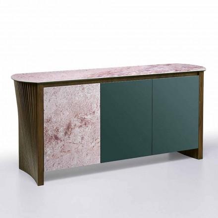Aparador de lujo en Gres con estructura en madera y Mdf Made in Italy - Cunea