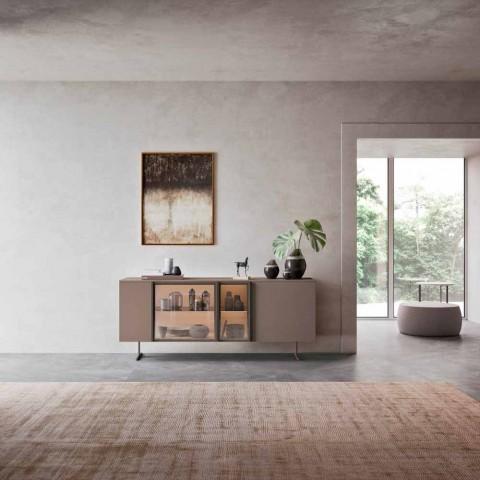 Aparador en Madera Ecológica, Vidrio y Metal para Salón Diseño 4 Puertas - Bruno