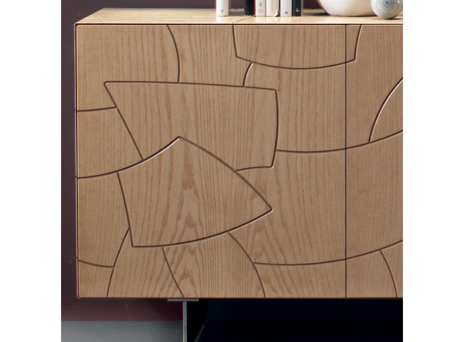 Aparador moderno en madera de fresno chapada Made in Italy - Galassia