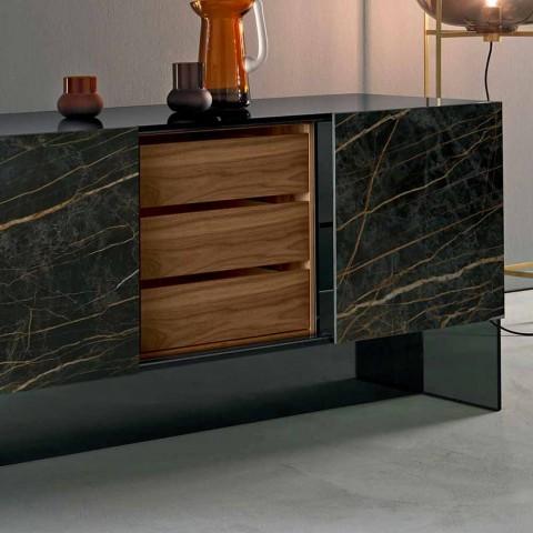Aparador 2 puertas de cerámica y estructura de vidrio ahumado Made in Italy - Sciocca