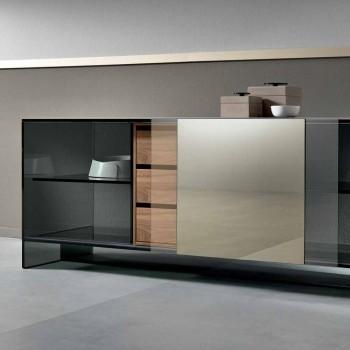 Aparador de sala de estar de vidrio ahumado con puerta de espejo de bronce Made in Italy - Silly