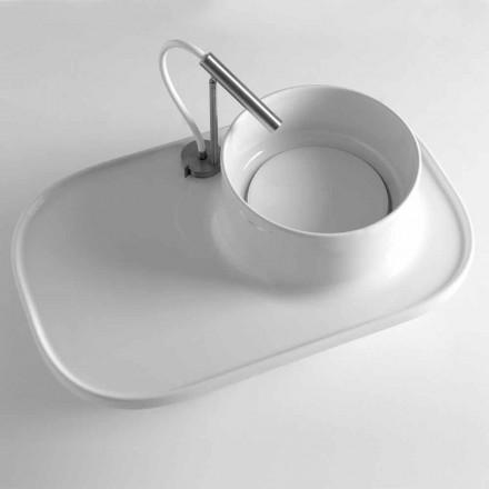 Estante con lavabo integrado en cerámica coloreada Made in Italy - Uber