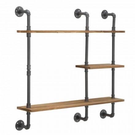 Estantes de pared de estilo industrial de diseño moderno en hierro y madera - Katrine
