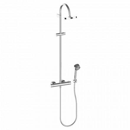 Columna de ducha con rociador y ducha de mano en latón cromado, alta calidad - Zanio