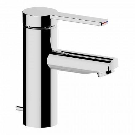 Mezclador de lavabo de baño en latón cromado, diseño fino - Zanio