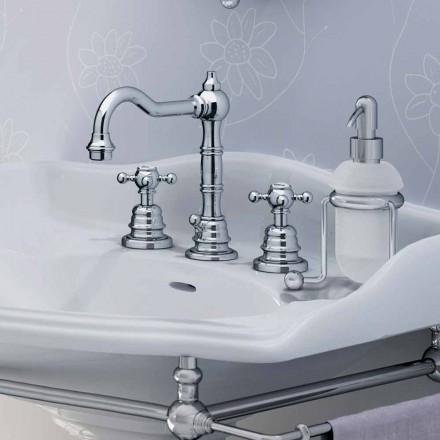 Mezclador de lavabo de baño moderno de latón con tres orificios Made in Italy - Binsu