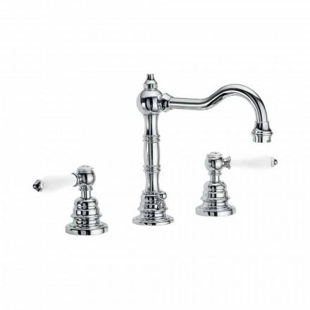 Mezclador de lavabo de sobre encimera para baño en latón cromado Made in Italy - Binsu