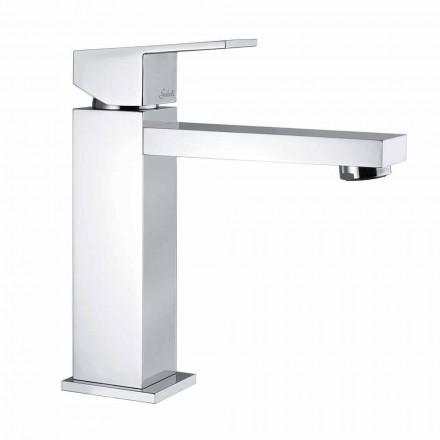 Mezclador de lavabo cuadrado de latón cromado Made in Italy - Medida