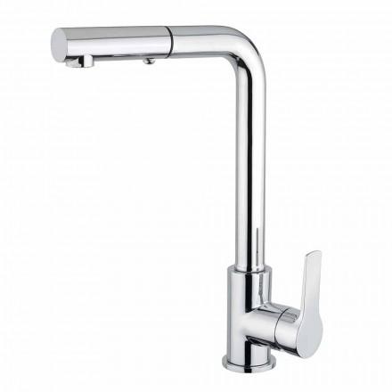 Mezclador de lavabo con ducha de mano de 2 chorros en latón Made in Italy - Croma