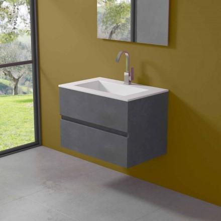 Mueble de suspensión para baño con lavabo integrado en 3 dimensiones - Marione